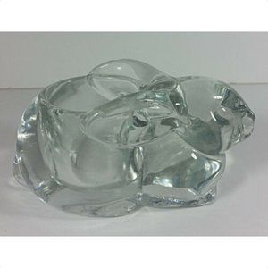 """Indiana Glass Bunny Candle Holder 5"""" Clear Vintage"""